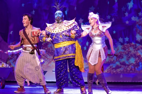 Aladdin (Jake Carter) , Genie (Ross Anderson-Doherty) and Genie of the Ring (Naomi Rocke) in Aladdin