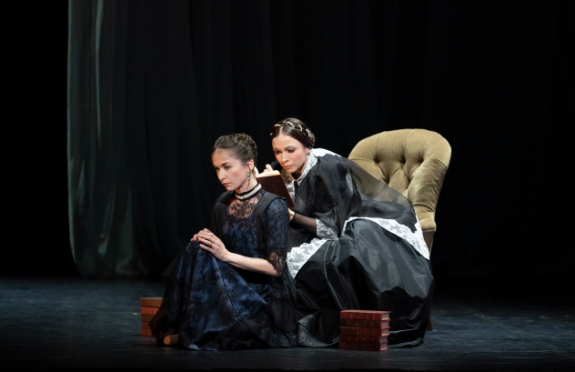 Pippa Moore as Older Princess Beatrice and Abigail Prudames as Victoria in Victoria. Photo Emma Kauldhar